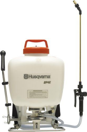 Husqvarna BP4E 4-Gallon Professional Backpack Sprayer by Husqvarna. $149.95. Critical seals and o-rings made of viton/nytril formulation. 47-inch industrial hose and 20-inch brass wand. Diaphragm pump (repairable). 4 gallon capacity. 15-80 psi working pressure, 150 psi maximum pressure. The Husqvarna BP4E Professional Backpack Sprayer features include: 15-80 PSI working pressure, 150 PSI maximum pressure, patented diaphragm pump (repairable) that offers incredibl...