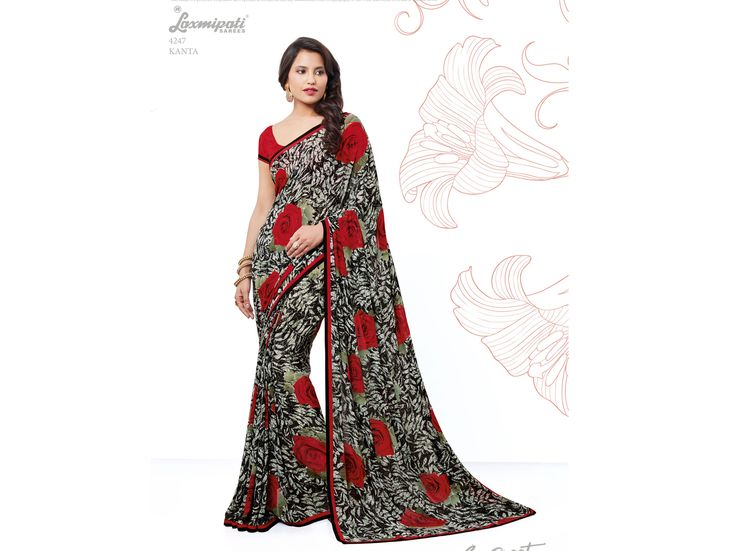 Browse this Amazing Black & Red Georgette Saree with Fancy Printed Red Blouse along with Rawsilk Printed Lace Border online at www.laxmipati.com. Limited stock! 100% Genuine products! #Catalogue # SURPREET  Price - Rs. 1354.00  #Sarees #ReadyToWear #OccasionWear #Ethnicwear #FestivalSarees #Fashion #Fashionista #Couture #LaxmipatiSaree #Autumn #Winter #Women #Her #She #Mystery #Lingerie #Black #Lifestyle #Life #Col