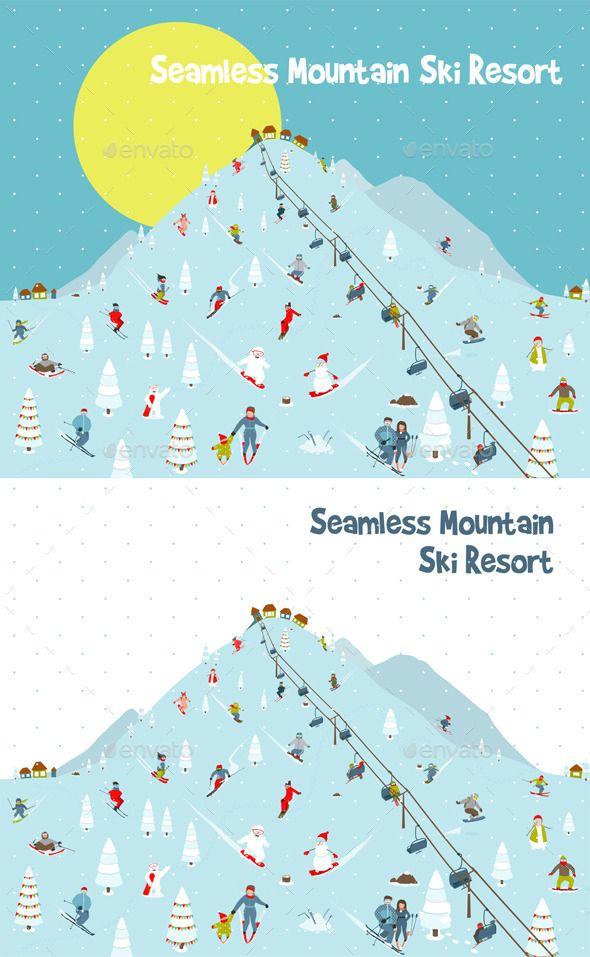 Cartoon Mountains Skyline Ski Resort Pattern