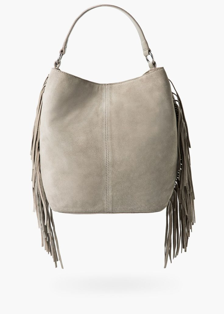 cheap sterling silver ankle bracelets Fringed suede bag   Bags for Women   MANGO