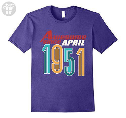 Mens Awesome Since April 1951 T-Shirt 66th Taurus Birthday 3XL Purple - Birthday shirts (*Amazon Partner-Link)