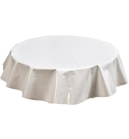 Slightly Imperfect Solid White Oilcloth Oval Tablecloth