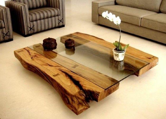 1 Diy Moebel Kreative Wohnideen Tisch Aus Holz Und Glas Grauer Sofa Diy Furniture Furniture Decor