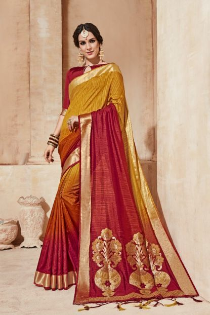 1e7623902cafbb Yellow And Red Double Colour Festival Wear Cotton Silk Saree With  Unstitched Blouse Catalog No