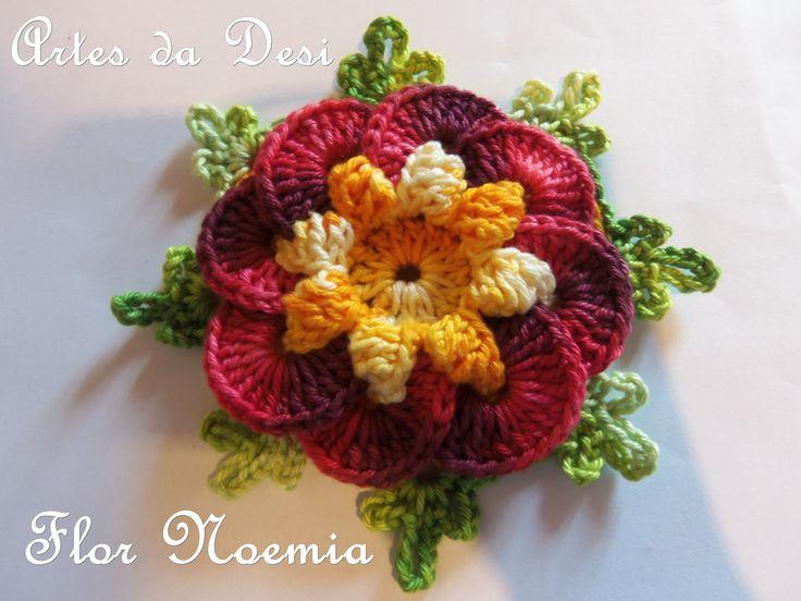 Passo a passo da Flor Noemia Flor em Crochê - Artes da Desi - http://artesdadesi.com