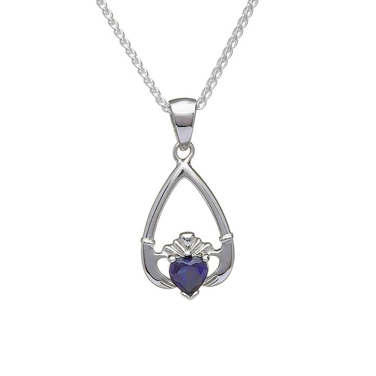 September Birthstone Claddagh Pendant - Claddagh Birthstone Jewelry - Rings from Ireland