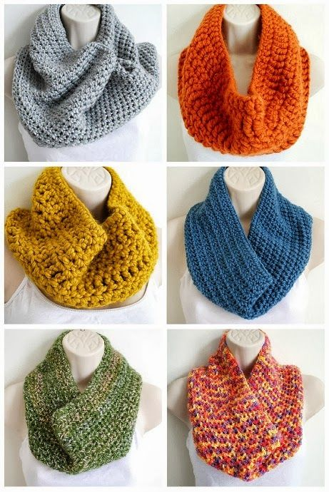 Simple crochet cowl - free pattern - using any thickness of yarn as shown here for different looks.