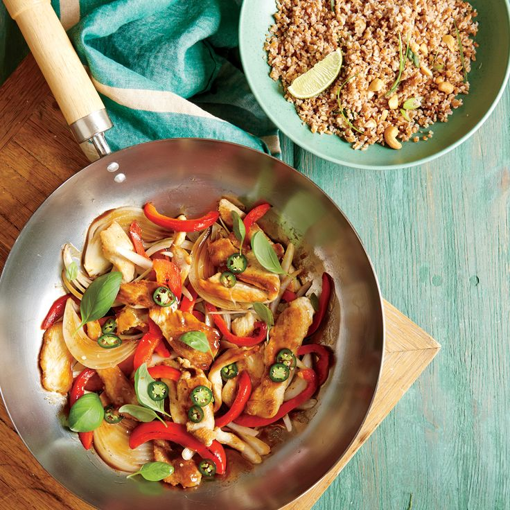 Red bell peppers are the star vegetable in this stir-fry, a crisp, sweet counterpoint to the serrano chile heat. Use any vegetables you...