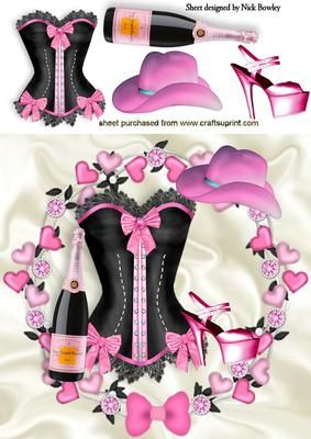 GORGEOUS PINK AND BLACK BASQUE WITH CHAMPAGNE AND HAT on Craftsuprint - Add To Basket!