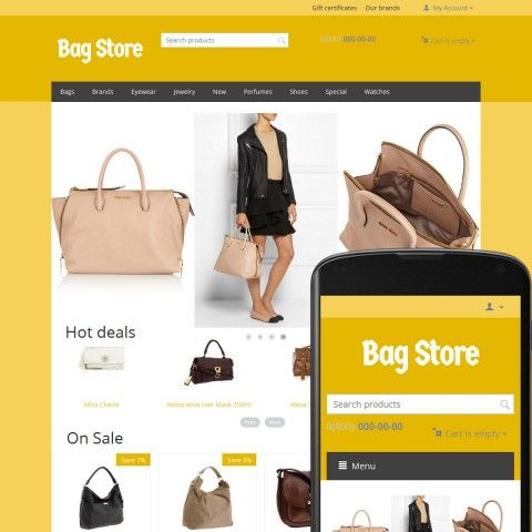 """CS-Cart Theme Free Bags Ochre"" is specially designed for Woman`s and Man`s Handbags. Selling Woman`s and Man`s Handbags from world famous brands: Bottega Veneta, Calvin Klein, Chanel, Miu Miu, Furla, Paco Rabanne, Givenchy, Prada, Hugo Boss, Jessica Simpson. Woman`s and Man`s Handbags look beautiful in this online Store. Main slogan ""The best decoration of your shop is your goods."" Very nice clean and professional design."