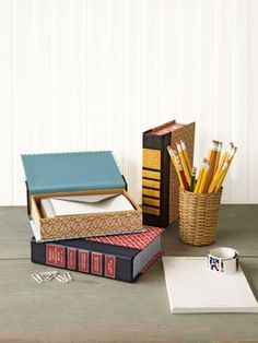 My current Country Living craft project: Book Storage Boxes. Free printable labels on my blog: http://justsomethingimade.com/2012/06/country-living-readers-digest-book-storage-boxes/