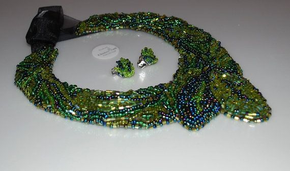 Green statement set consists of collar type necklace by choice4all