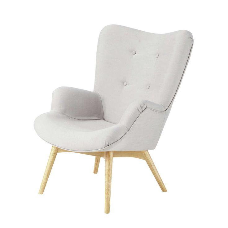 fauteuil scandinave en tissu gris clair fauteuil vintage maison du monde et fauteuils. Black Bedroom Furniture Sets. Home Design Ideas