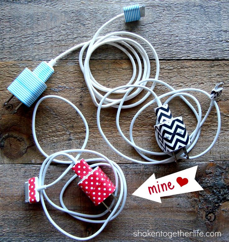 Organized Phone Chargers with Washi Tape