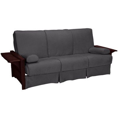 Valet Perfect Sit and Sleep Futon and Mattress Upholstery: Suede - Slate Grey, Size: Full, Finish: Mahogany - http://delanico.com/futons/valet-perfect-sit-and-sleep-futon-and-mattress-upholstery-suede-slate-grey-size-full-finish-mahogany-659776347/