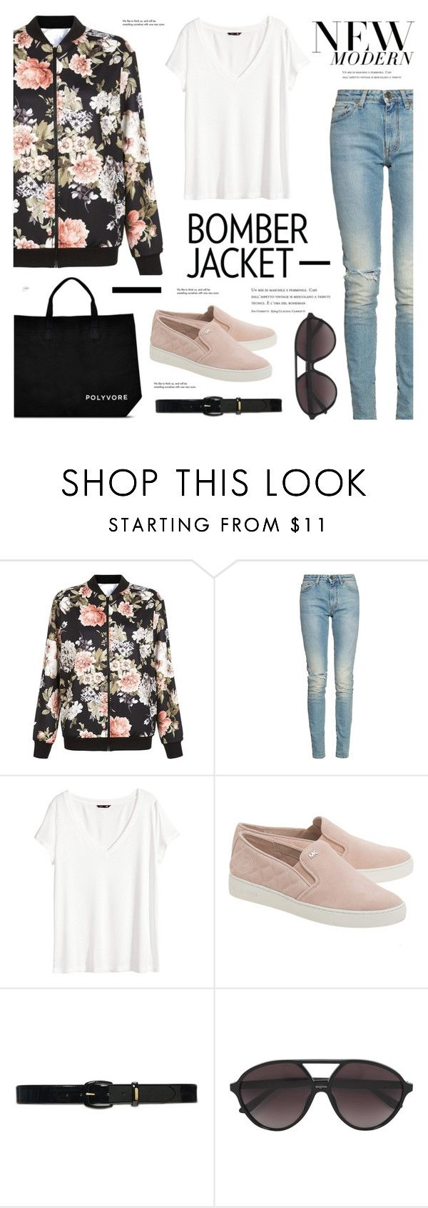 """Floral Bomber jacket-street style"" by cly88 ❤ liked on Polyvore featuring Cameo Rose, Yves Saint Laurent, H&M, MICHAEL Michael Kors, Lauren Ralph Lauren, Valentino, Tiffany & Co., women's clothing, women and female"