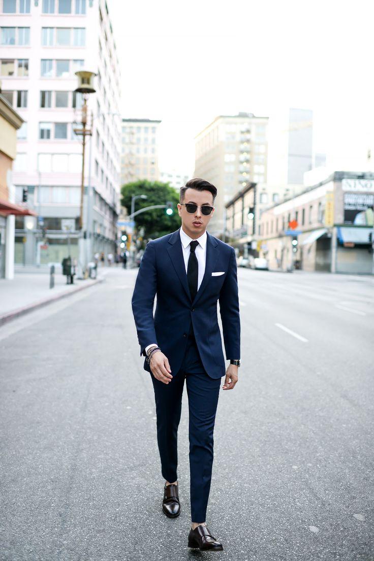 Navy suit + black tie + white pocket square + double monk strap shoes