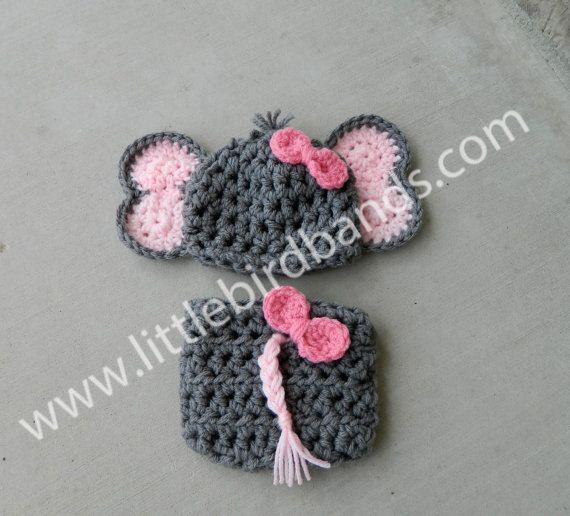 Handmade, crochet Elephant Hat, Elephant outfit, Elephant Photo prop with bow, Newborn girl hat on Etsy, $42.52 AUD