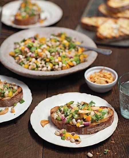 You Now Have New Years Day Plans: Bryant Terry's Texas Caviar on Grilled Rustic Bread