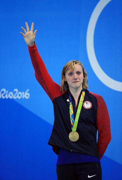 Katie Ledecky of the USA wins Gold in the Women's 800m Freestyle Final on Day 7. I think that this photo shows how much she cares about swimming.