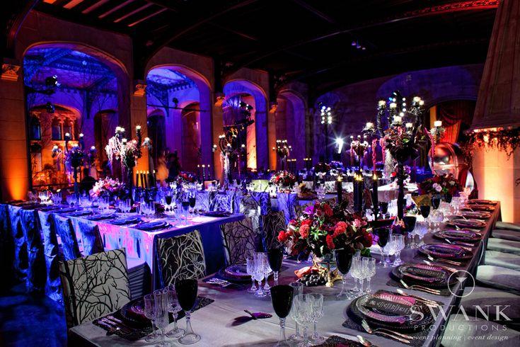 AMAZING lighting!! Swank Productions Sleepy Hollow Halloween Wedding #Halloween #Wedding Hempstead House