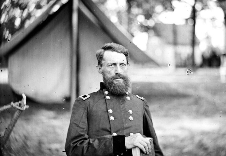 Union General George Stoneman, in a camp near Fair Oaks, Virginia in June of 1862. Stoneman was a career Army officer, and took part in several campaigns throughout the war. Afterwards, he moved first to Arizona, then to California, where, in 1882, he was elected governor of California and served a single four-year term.