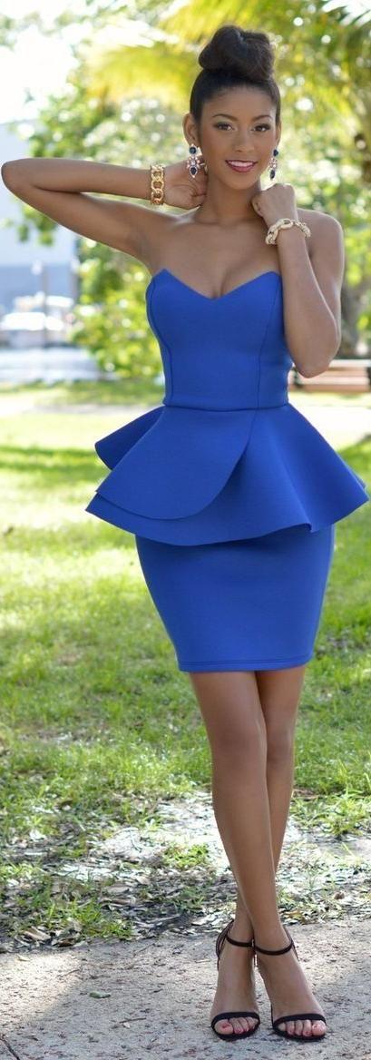 Royal-Blue Peplum Dress / Fashion by Chic Couture
