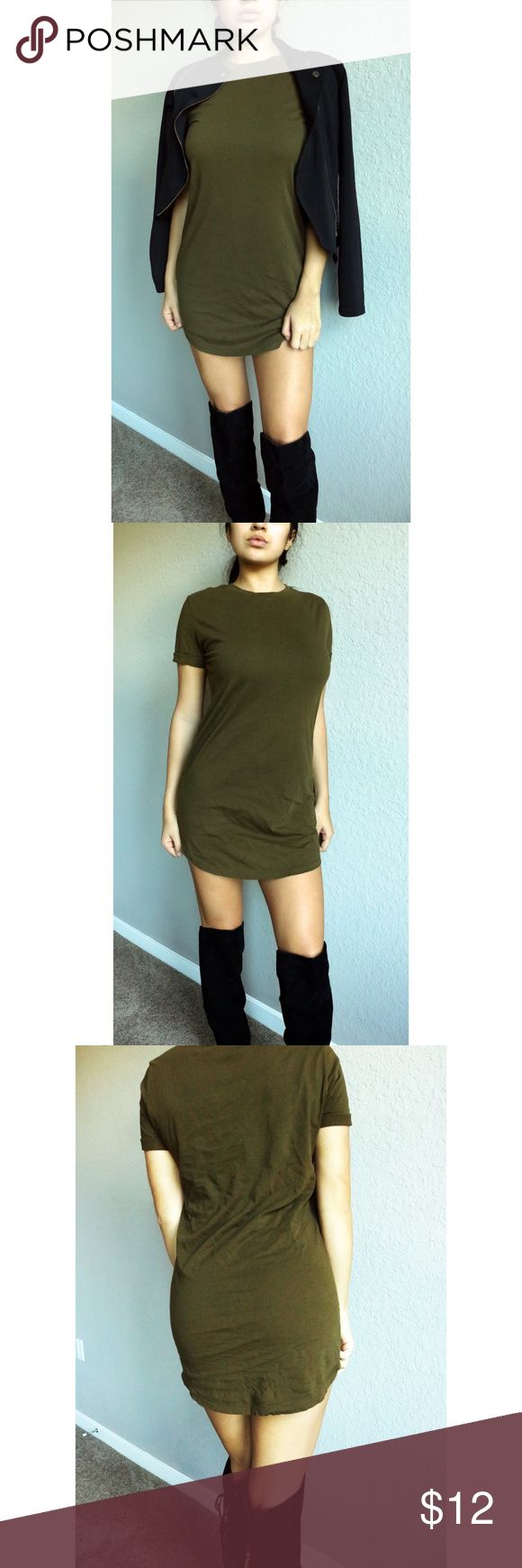 Forever21 Olive Green T-Shirt Dress Condition: gently worn, like new  *will fit a number of small sizes, hugs the curves! Little wrinkled just needs some ironing :) Forever 21 Dresses Midi