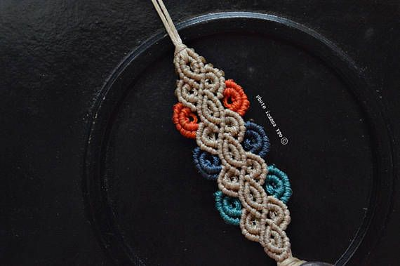 Delicate macrame long necklace Boho chic with orange dark