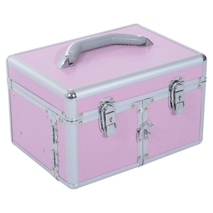 Soozier 3 Tier Lockable Cosmetic Makeup Train Case with Extendable Trays Pink - 501-008PK