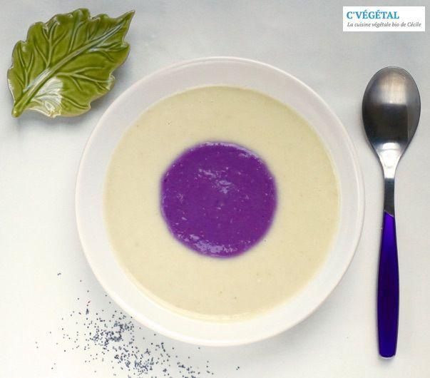 Une soupe dans une soupe... (chou fleur-coriandre et patate douce violette-lait de coco) // A soup in a soup... (cauliflower-cliantro and purple sweet potato-coconut milk) - C'Végétal