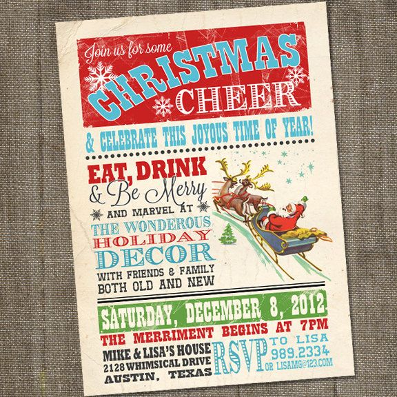 Retro Christmas Party Ideas Part - 28: Vintage Christmas Cheer Holiday Christmas PRINTABLE Party Invitation. , Via  Etsy.