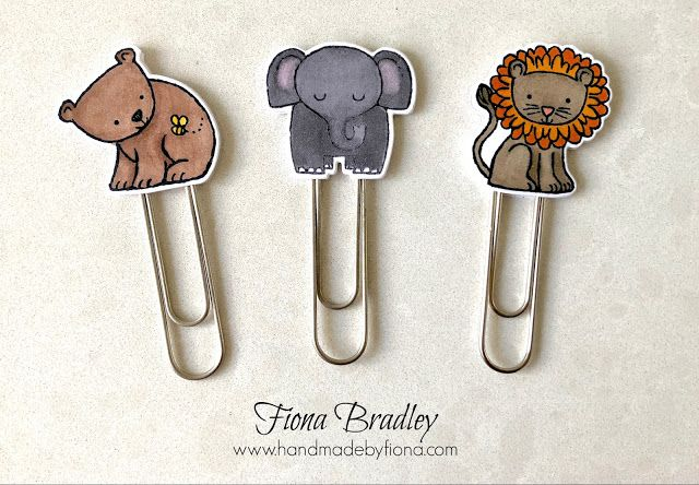 A Little Wild - Jumbo Paperclip Bookmarks - Bear, Elephant, Lion - Stampin' Up! - Fiona Bradley