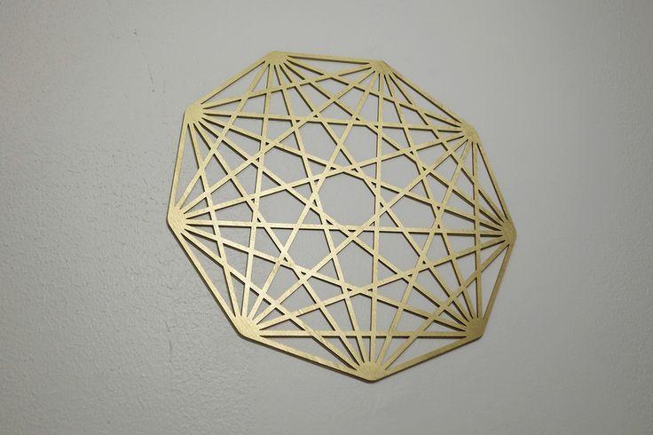 Islamic Art Gold Sacred Geometry Mandala - Tesseract