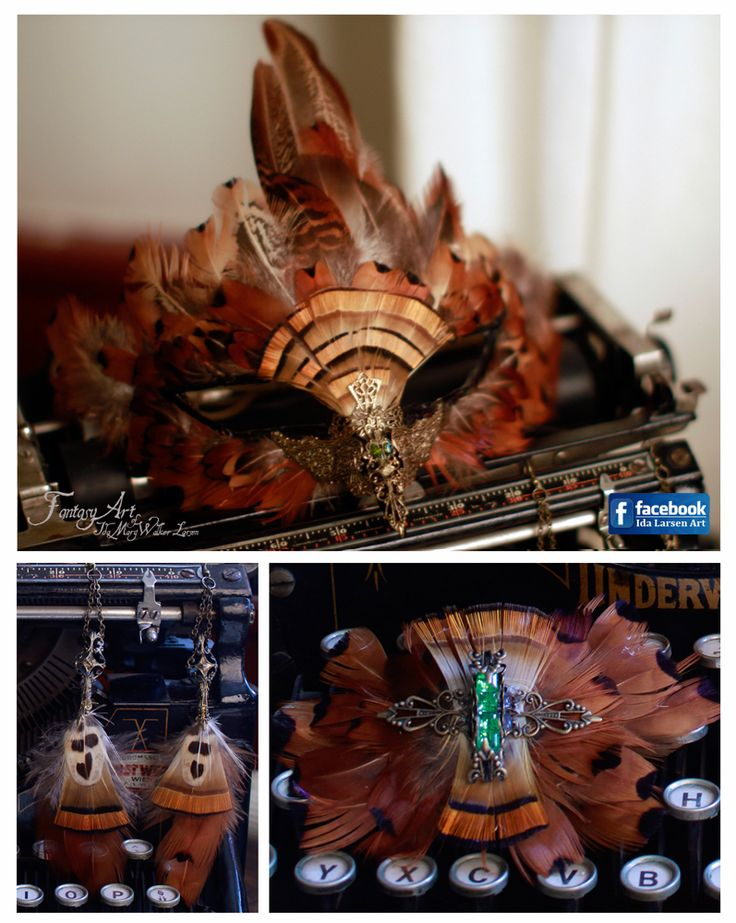 Steampunk Falcon Mask with Earrings and brooche by IdaLarsenArt.deviantart.com on @deviantART