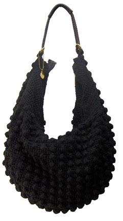 """KATIE"" POPCORN KNIT SLING-STYLE HOBO SHOULDER BAG"