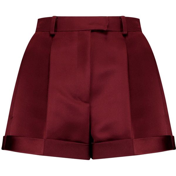 Valentino Silk-satin shorts ($605) ❤ liked on Polyvore featuring shorts, burgundy, high-waisted shorts, highwaist shorts, loose fitting shorts, burgundy shorts and high rise shorts