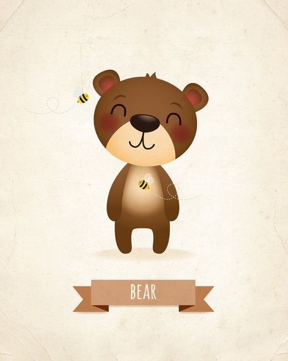 Nursery art print Bear art print nursery decor by IreneGoughPrints
