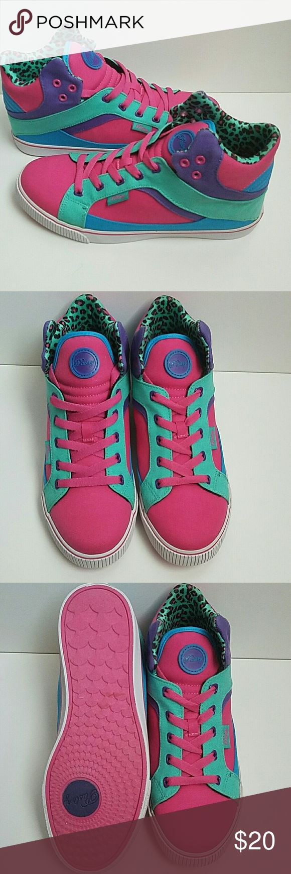 Pastry Sneakers Purple,  Pink and Aqua with animal print inside. Pastry Shoes Sneakers