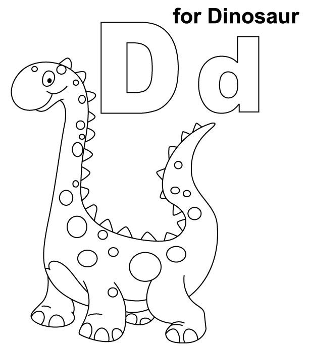 D For Dinosaur Coloring Pages Kids Coloring Pages