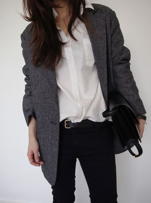 masculine style long tweed blazer white shirt black skinnies