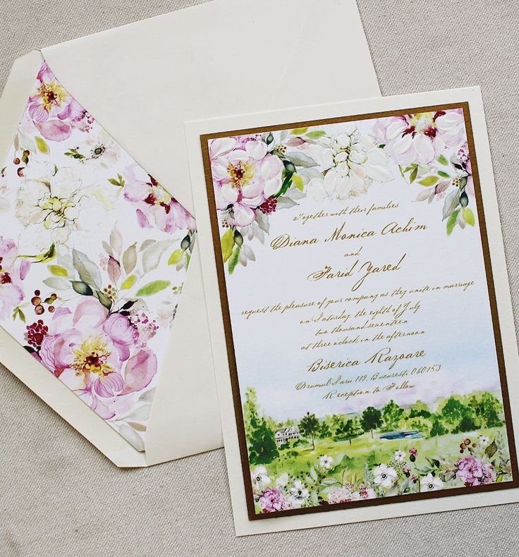 wedding invitations east london south africa%0A Watercolor Floral and Landscape Wedding Invitations