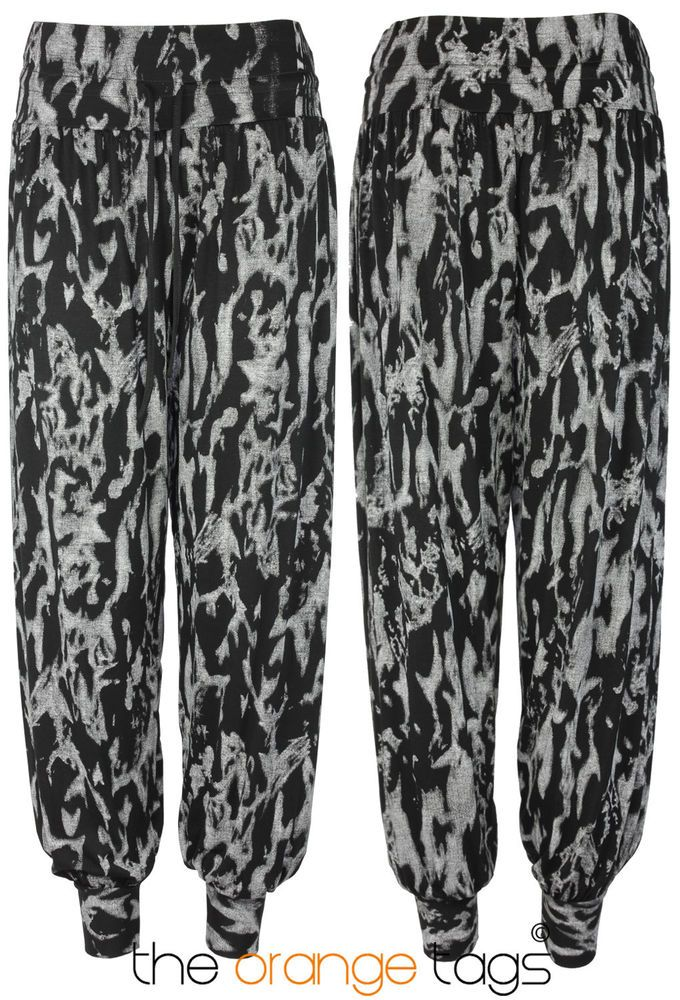 NEW LADIES DISCHARGE PRINT HAREM PANTS WOMENS HAREEM TROUSERS in Clothes, Shoes & Accessories, Women's Clothing, Trousers | eBay
