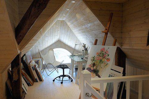 studio.: Attic Creations, Artists Studios, Office Crafts Rooms, Attic Tactical, Attic Studios Workspaces, Architecture Meso, Work Spaces, Bedrooms Inspiration, Desks Studios