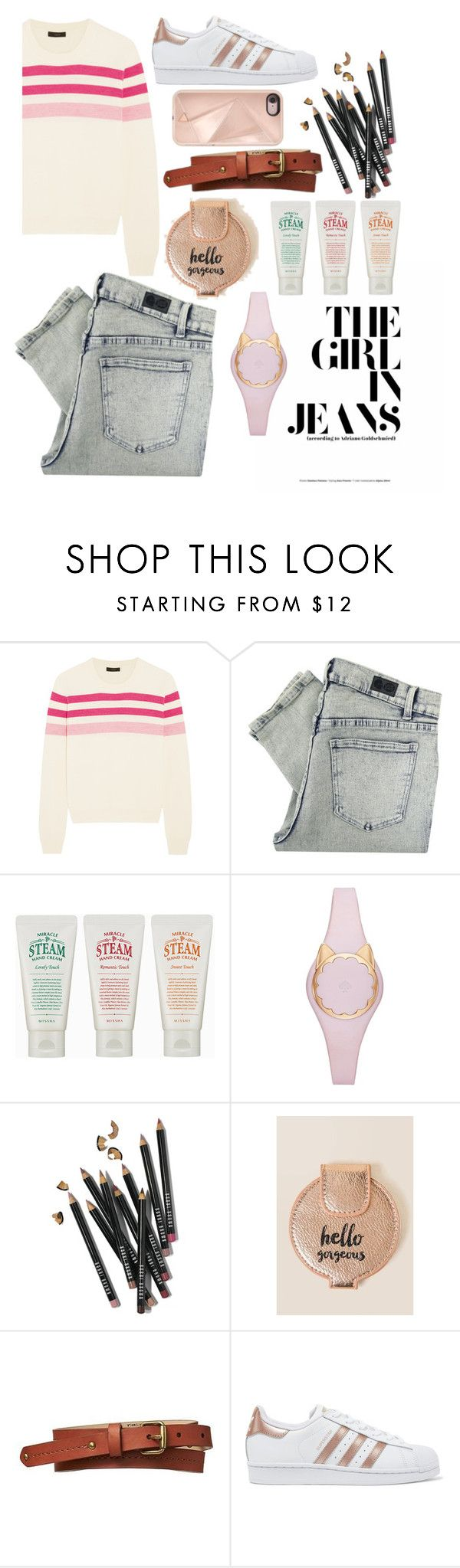 """""""The girl in jeans"""" by barbara-lancianese ❤ liked on Polyvore featuring J.Crew, Cheap Monday, Kate Spade, Bobbi Brown Cosmetics, Gap, adidas Originals and Rebecca Minkoff"""