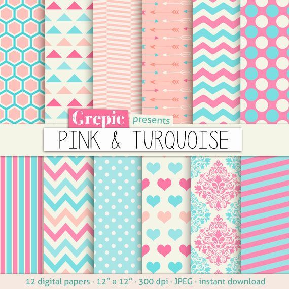 Pink turquoise digital paper PINK & TURQUOISE with by Grepic, $4.90