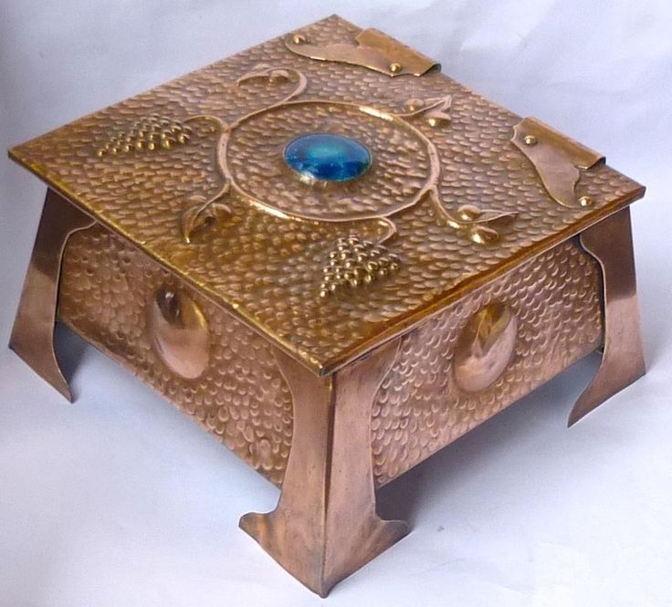 Copper Arts Amp Crafts Box With Ruskin Tile Dated 1911
