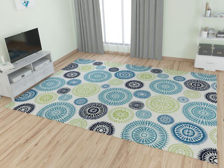 Zipcode™ Design Lucia Ivory/Green/Blue Indoor/Outdoor Area Rug & Reviews | Wayfair
