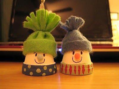 sněhuláci s čepicí z hliněného květináče