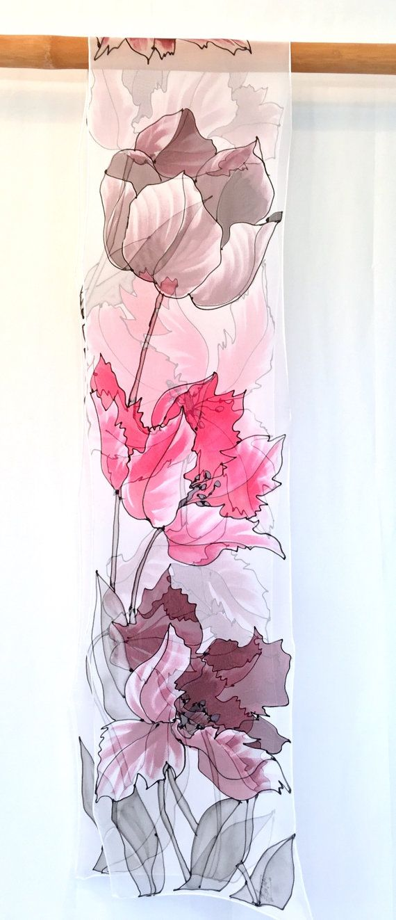 Hand Painted Silk Scarf Long, ETSY ASAP, Chiffon Scarf Silk, White Scarf, Pink and Brown Tulips Scarf, Silk Scarves Takuyo, 11x90 inches. 27x228 cm.  I hand painted this floral scarf with dark brown red colored tulips with dark gray and black line drawings for searching of the floral design more sensual. The unusual size of this scarf has a very modern attitude. Its an interesting juxtaposition to the traditional Japanese Wood Cut Design.  With this lovely red floral scarf, I used a medium…